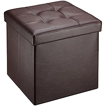Ollieroo Faux Leather Folding Storage Ottoman Bench Seat Foot Rest Stool (15u201dx15u201d  sc 1 st  Amazon.com & Amazon.com: SONGMICS Faux Leather Folding Storage Ottoman Cube ... islam-shia.org