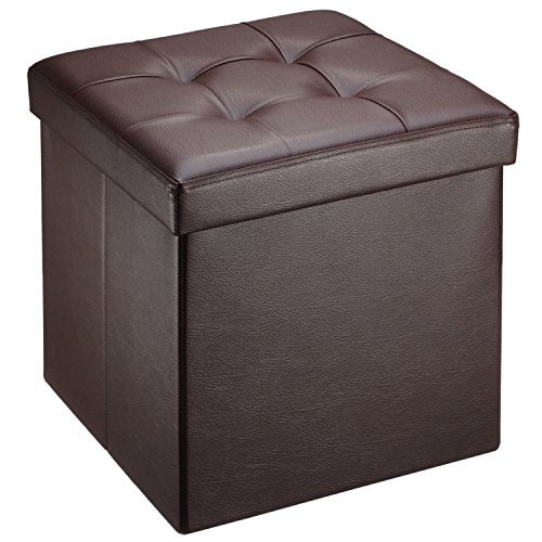 Ollieroo Faux Leather Folding Storage Ottoman Bench Seat Foot Rest Stool Coffee Table (15''X15''X15'' Brown)