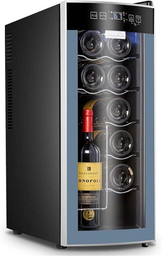 YFGQBCP 12 Botella termoeléctrica rojo y negro del refrigerador de vino, un funcionamiento silencioso termoeléctrica Bodega Nevera independiente Mostrador Vino Frigorífico - Panel táctil digital de la