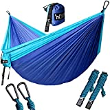 WINNER OUTFITTERS Double Camping Hammock - Lightweight Nylon Portable Hammock, Best Parachute Double Hammock for Backpacking, Camping, Travel, Beach, Yard. 118'(L) x 78'(W), Sky Blue/Blue Color