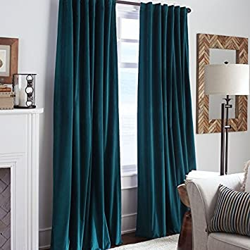 TEAL COTTON VELVET CURTAINS INCLUDING TIE BACKS 100 BLACKOUT FULLY LINED PENCIL PLEAT TAPE TOP 46 X 90 Amazoncouk Kitchen Home