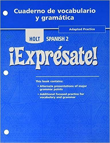 Holt Expresate Cuaderno De Vocabulario Y