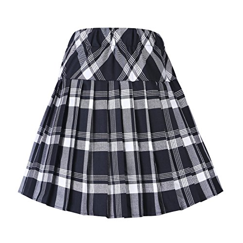 Women's Tartan Elastic Pleated Plaid Skirts Schoolgirls Mini A-line Skirt Cosplay Costumes (M, 1 White-Black)