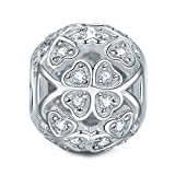 """Image of NinaQueen """"Lucky Clover"""" 925 Sterling Silver Heart Shape Design Silver Charms for Bracelet and Necklace"""
