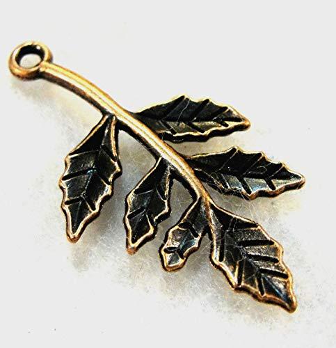 10Pcs. Tibetan Antique Copper 3D Leaf Branch Charm Earring Drops Findings L45 Crafting Key Chain Bracelet Necklace Jewelry Accessories Pendants ()