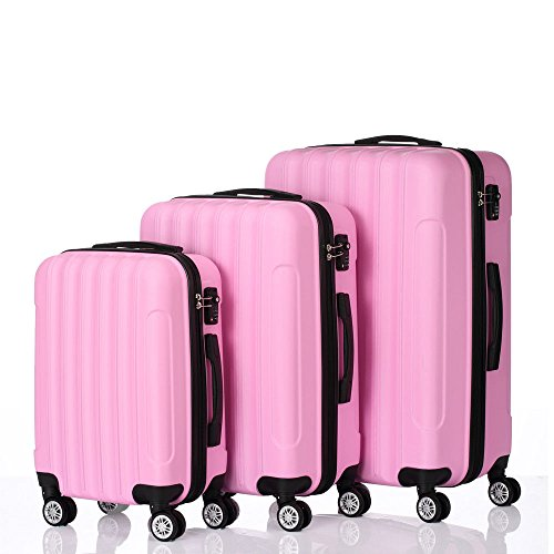 3PCS Luggage Travel Set Bag ABS Trolley Hard Shell Suitcase lock Pink + FREE E - Book by Eight24hours