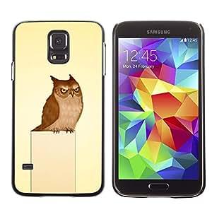TECHCASE**Cubierta de la caja de protección la piel dura para el ** Samsung Galaxy S5 SM-G900 ** Owl Grumpy Bird Art Drawing Fairytale