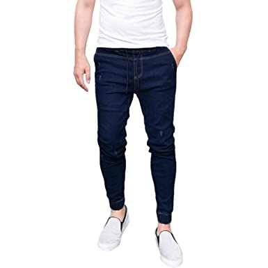 963c297052 AMSKY❤ Men Trouser, Fashion Slim Biker Hiphop Basic Denim Jeans Skinny  Fitness Elastic Stretchy Long Pants