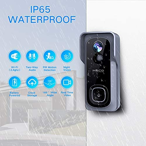 【32GB Preinstalled】WiFi Video Doorbell,MECO 1080P Doorbell Camera with Free Chime, Wireless Doorbell with Motion Detector, Night Vision, IP65 Waterproof, 166°Wide Angle, 2 Way Audio, 2.4GHz WiFi 51BdJ8rBQbL