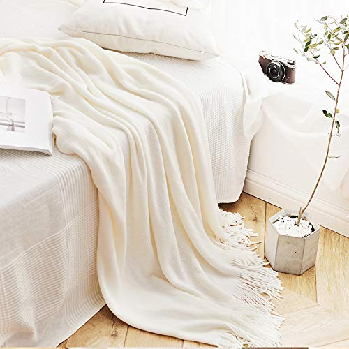 LLIND Home Nordic Fringed Wool Blankets Summer Solid Color Sofa Blankets Knitted Blankets Office air Conditioning Blankets (Color : White, Size : 127x170CM)