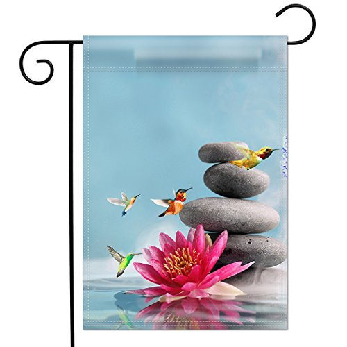 - TSlook Home Double Sided Premium Garden Flag Great Design Yard Flag Pink Lotus Flower Zen Massage Magic Lily Stones Hummingbird 12