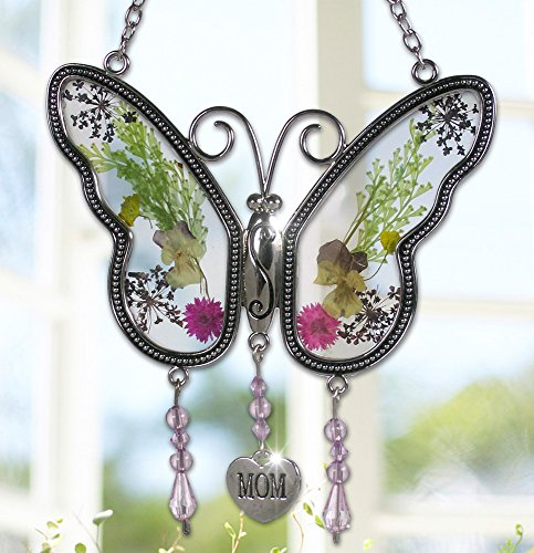 6. Mom Butterfly Mother Suncatcher with Pressed Flower Wings