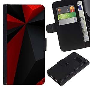 Samsung Galaxy S6 / SM-G920 , la tarjeta de Crédito Slots PU Funda de cuero Monedero caso cubierta de piel ( Red Polygon Pattern Grey Black Modern)