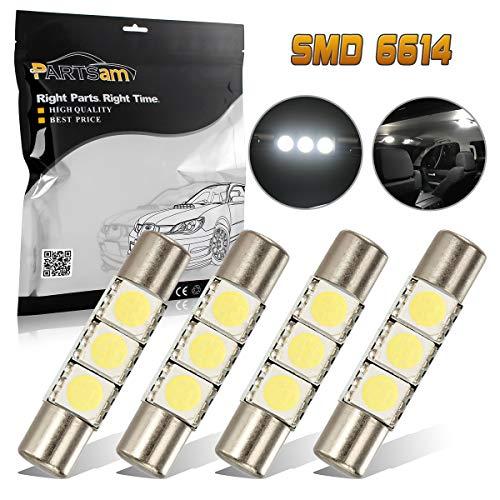 Partsam 29mm 6614F LED Light Bulbs for Car Interior Vanity Mirror Lights Sun Visor Lamps for 2011-2012 Honda CR-Z(4Pcs White)