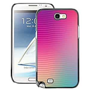 A-type Arte & diseño plástico duro Fundas Cover Cubre Hard Case Cover para Samsung Note 2 N7100 (Lines Waves Purple Teal Peach Blurry)