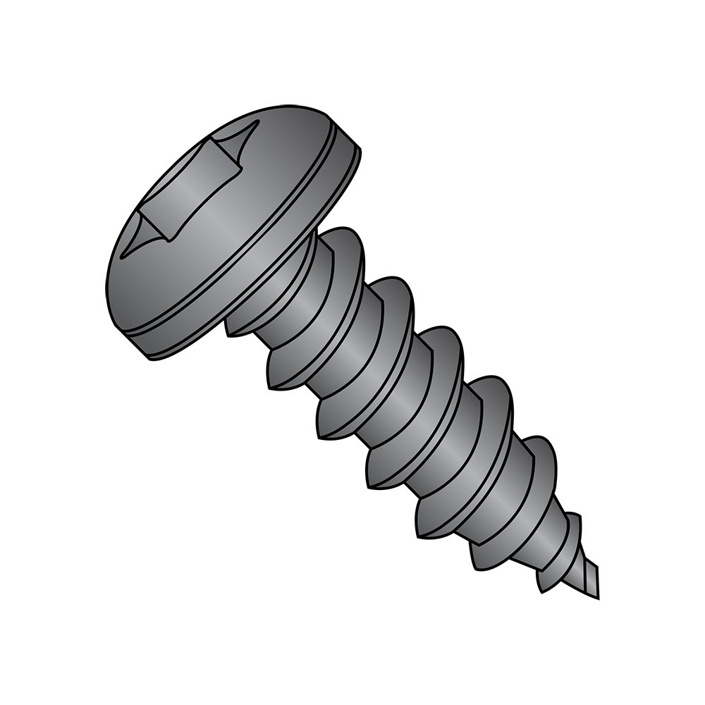 Steel Sheet Metal Screw Pack of 50 2 Length Pan Head #10-16 Thread Size Star Drive Type AB Black Oxide Finish