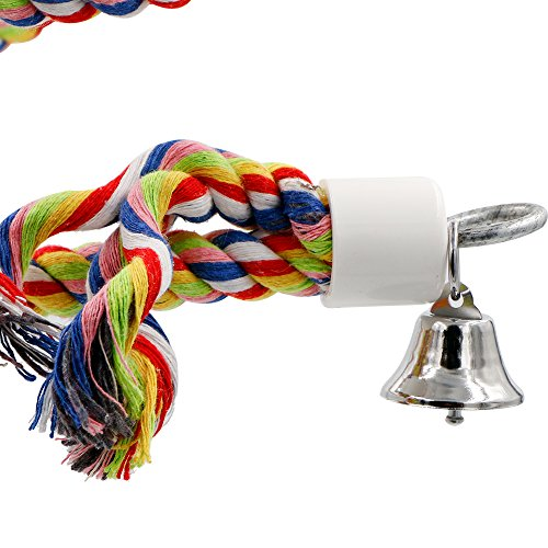 Rusee Rope Bungee Bird Toy, Small or Medium-Sized Parrot Toy Pure Natural Colorful Bead Cage Parrot Chewing Toy