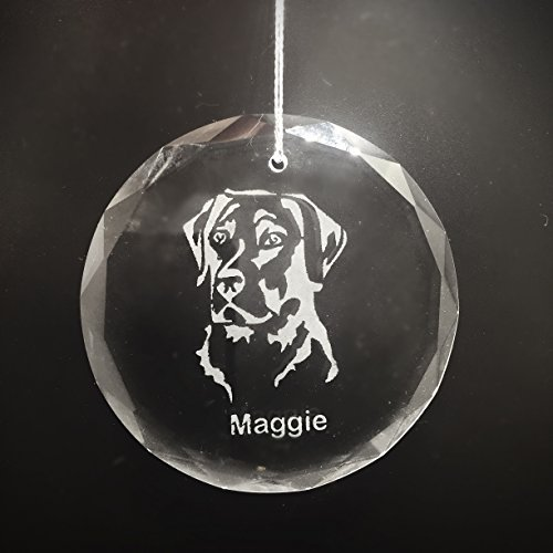 Pet Keepsake Optic Crystal Round Christmas Ornament with Name and Picture of Animal Breed - Or your Black and White Animal Picture Substituted! (Round 3