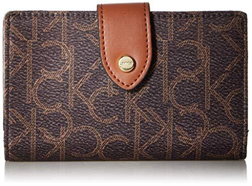 Calvin Klein Key Item Nylon Small Snap Closure Wallet, Brown/Khaki