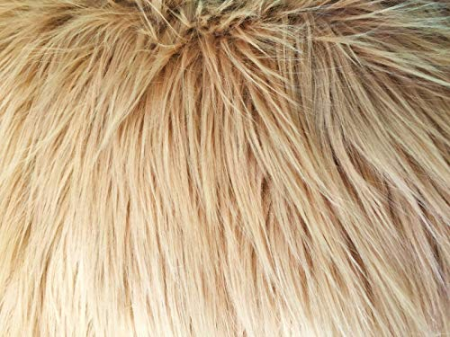 Camel Brown Luxury Long Pile Faux Shag Fur Fabric - Sold By The Yard - 60