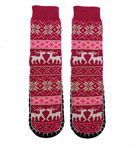 Home Slipper Socks with NON Slip Bottom (Deer-Pomegranate), One Size (9-11) ()