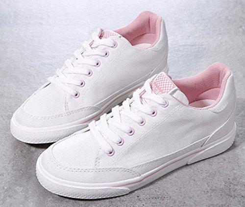 Aisun Damen Klassisch Canvas Rund Zehe Niedrig Keilabsatz Schnürsenkel Sneakers Weiß-Pink 36 EU cVpDGyi