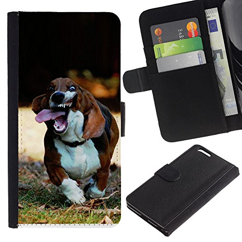 OMEGA Case / Apple Iphone 6 PLUS 5.5 / basset hound dog pet canine beagle / Cuir PU Portefeuille Coverture Shell Armure Coque Coq Cas Etui Housse Case Cover Wallet Credit Card