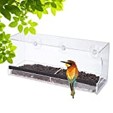 YOMUSE Clear Window Bird Feeder w/ Removable Tray, Strong Suction Cups & Drain Holes, Large Review