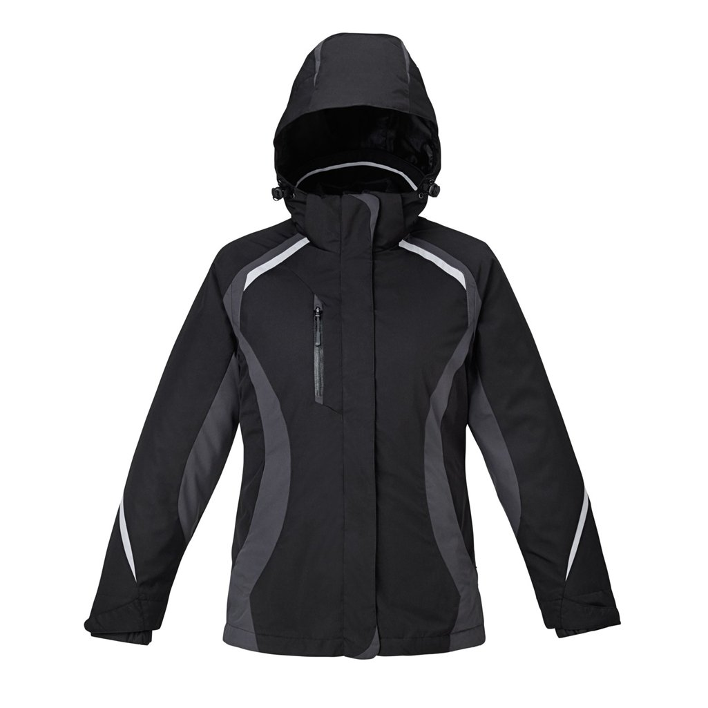 Ash City Ladies Height Jacket (Large, Black/Carbon/Gray Luster/Black)
