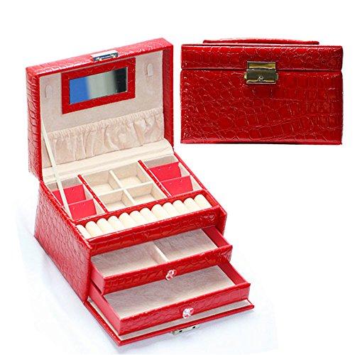 Delmkin Schmuckkästchen Stilvolle Leder Schmuckkästen Damen Schmuckkoffer (rot)
