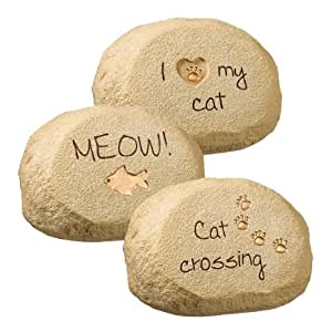 In the Garden - Cat Message Rocks By Grasslands Road