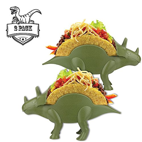TriceraTACO Taco Holders, Set of 2 - Dinosaur Novelty Taco Stand Party Plates Serveware - Holds 2 Tacos Each!