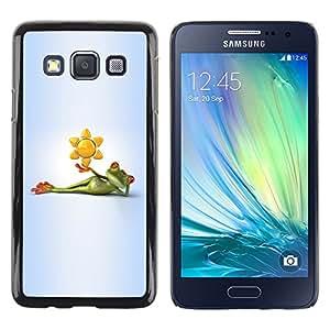 TopCaseStore / la caja del caucho duro de la cubierta de protección de la piel - Frog Cartoon Grey Gray Green White - Samsung Galaxy A3 SM-A300