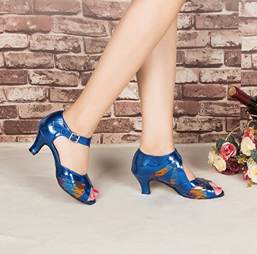 Sandali Da Ballo Latino Sintetico Alla Caviglia Con Minishion L198 Da Donna Alla Moda Blu