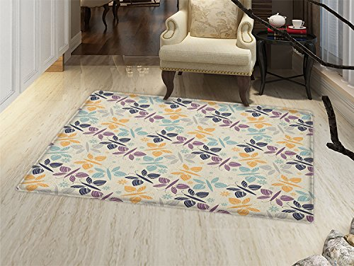 Blossom Time Pattern (smallbeefly Butterfly Door Mats Area Rug Pastel Colored Spring Time Inspired Pattern Butterfly Silhouettes and Blossoms Floor mat Bath Mat for tub Multicolor)