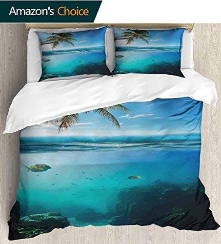 - Ocean 3 PCS King Size Comforter Set,Tropical Underwater Shot with Surface Coconut Tree and Sky Aqua Water Theme Paradise Image Decorative 3 Piece Bedding Set with 2 Pillow Sham 79