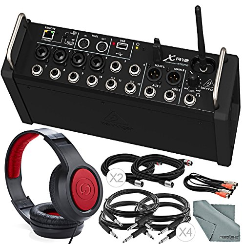 Behringer X Air XR12 Digital Mixer for iPad/Android Tablets with 12-Inputs Wi-Fi and USB + Deluxe Bundle w/Headphones, Cables, Fibertique Cloth ()