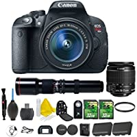 Canon EOS Rebel T5i 18.0 MP CMOS Digital Camera Digital SLR Camera and DIGIC 4 Imaging + Canon EF-S 18-55mm IS STM + 500mm Preset Telephoto Lens + 2pc 32GB Memory Cards + UV Filter + Extra Battery