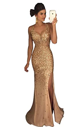 New Luxury Gold Beaded Mermaid Prom Evening Dresses Long Plus Size Slit Sleeveless V-Neck