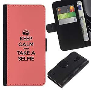 SAMSUNG Galaxy S4 IV / i9500 / SGH-i337 , la tarjeta de Crédito Slots PU Funda de cuero Monedero caso cubierta de piel (Keep Calm & Selfie)