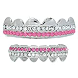 Hip Hop Top & Bottom Platinum Silver Tone 2 Bling Rows Removeable Mouth Grillz Set Pink Lollipop