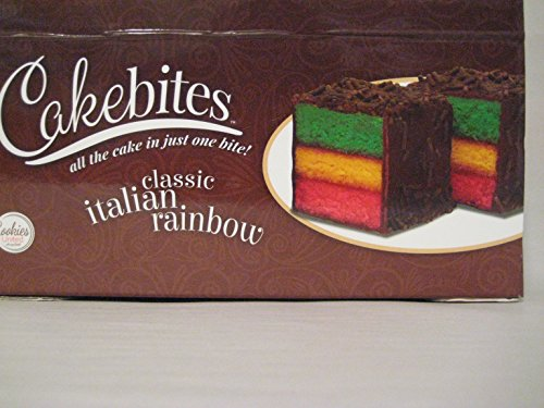 Cakebites Classic Italian Rainbow Cake, Package of 24! Tri-color cake. -
