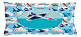 Ambesonne Kids Party Throw Pillow Cushion Cover, Airplane Collection with Different Vessels Commercial Airline Balloon Cartoon, Decorative Square Accent Pillow Case, 36 X 16 inches, Multicolor