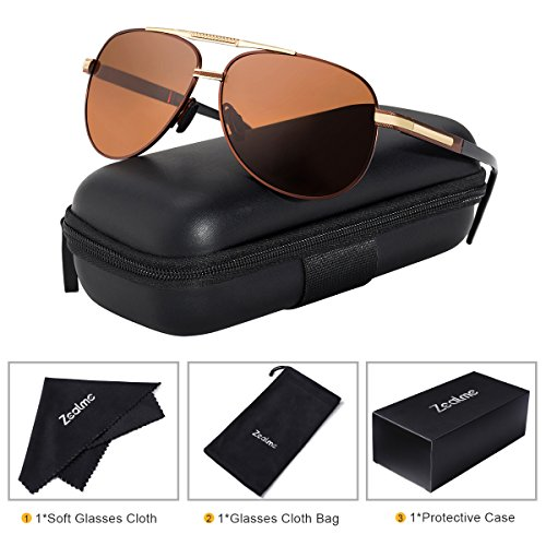 Zealme Polarized Fashion Aviator Anti Glare Pilot Driving Fashion Lightweight Durable Unbreakable Frame Cycling Fishing cycle Hiking Dark Sunglasses for Men Women (bown) (Cycle Pilot)