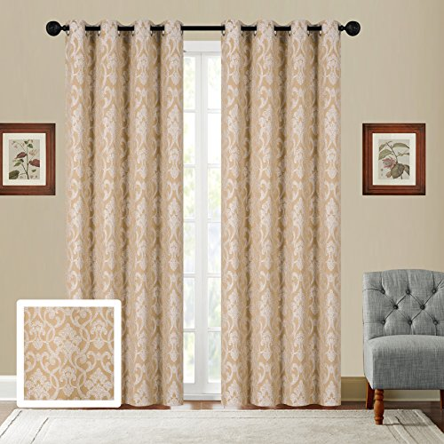 Fancy Collection Set of 2 Panels Curtain Embroidery Jacquard Curtain,108