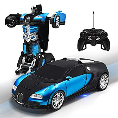 Kossmask Robot RC Car for Kids One-Button Deformation and 360°Rotating Drifting Transformrobot Remote Control Car Gift for Boys and Girls (Blue): Toys & Games