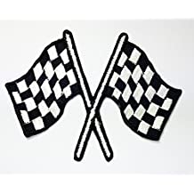 Checkered Flag Racing Biker Race Motogp Motocross Car Patch for Jacket Vest shirt hat blanket backpack T shirt Patches Embroidered Appliques Symbol Badge Cloth Sign