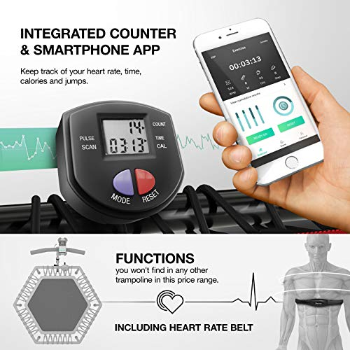 ISPO fair novelty 2019! Smart Fitness trampoline with APP + jump counter &  pulse belt, 133 cm, foldable, 8-way height adjustable handle with phone &