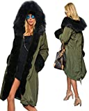 Roiii Women's Winter Thicken Faux Fur Hooded Plus Size Parka Jacket Coat Size S-3XL
