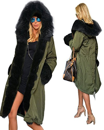 Roiii Women's Winter Thicken Faux Fur Hooded Plus Size Parka Jacket Coat Size S-3XL (Fur Parka Hooded)